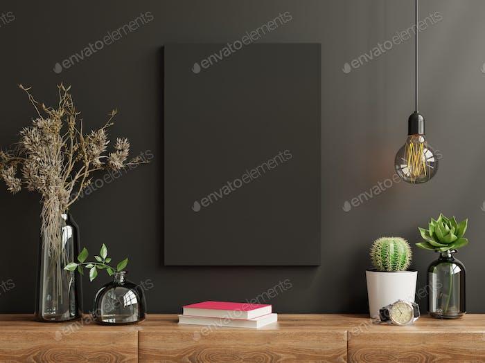 Mockup frame on cabinet in living room.