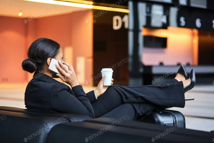 Relaxing in lounge