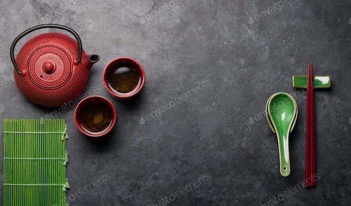 Japanese tea, soup spoon and chopsticks