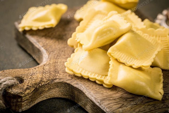 Fresh homemade stuffed square pasta ravioli