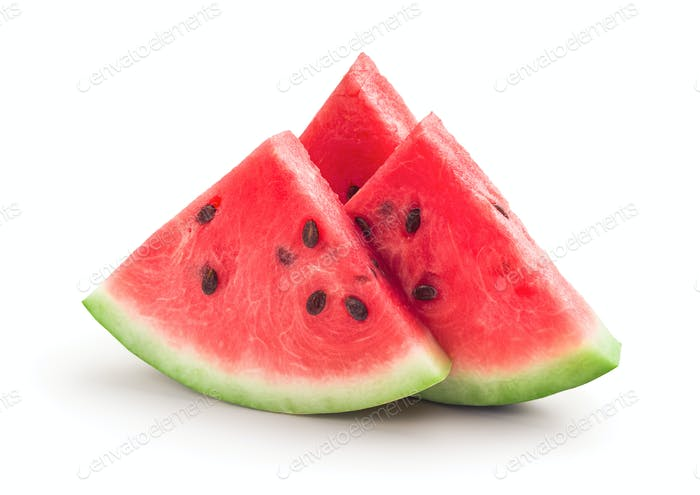 Fresh ripe watermelon slices, isolated on white