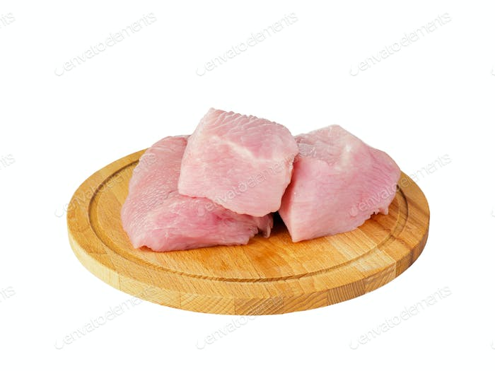Isolated fillet of raw turkey on a wooden chopping Board, side view.