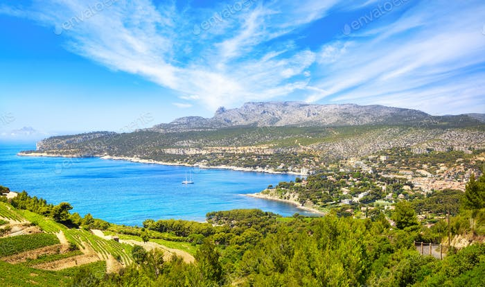 Cassis bay from route des cretes scenic road. Cote Azur, Provence, France.