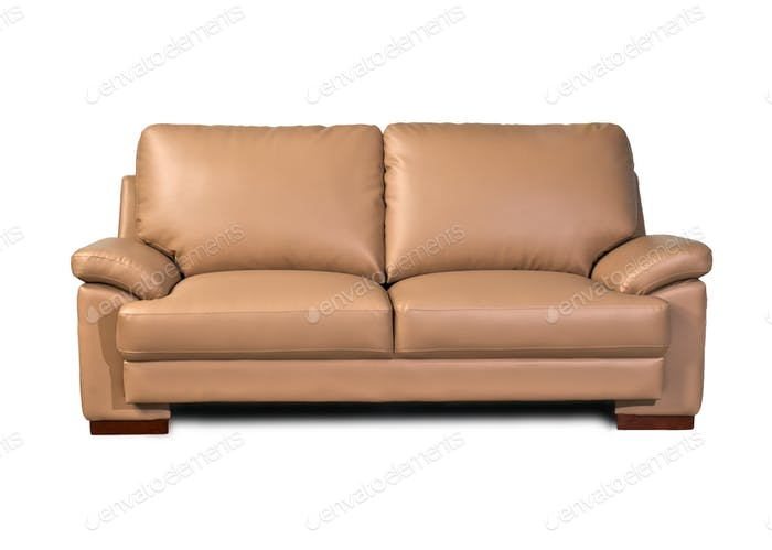 Light Brown Leather Sofa On White Background Photo By Praethip On