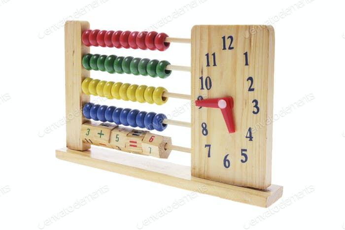 Wooden Children Abacus with Clock