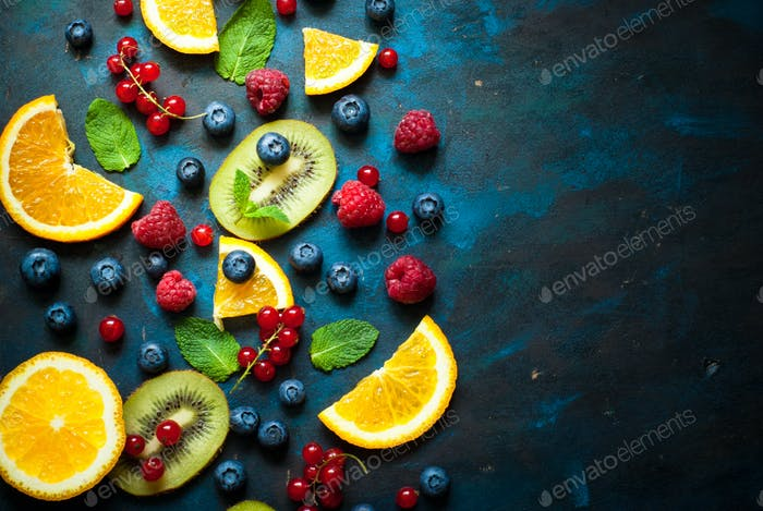Fresh summer berries and fruits