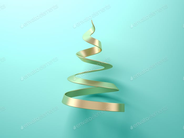 Gold abstract christmas tree on blue background 3d rendering