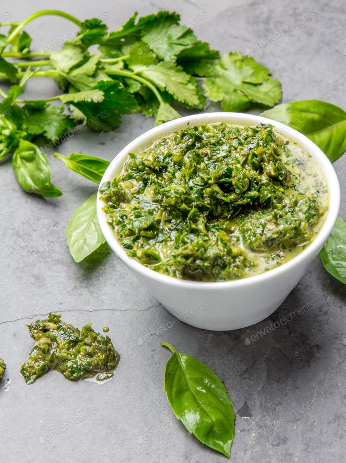 Green chimichurri parsley basil sauce
