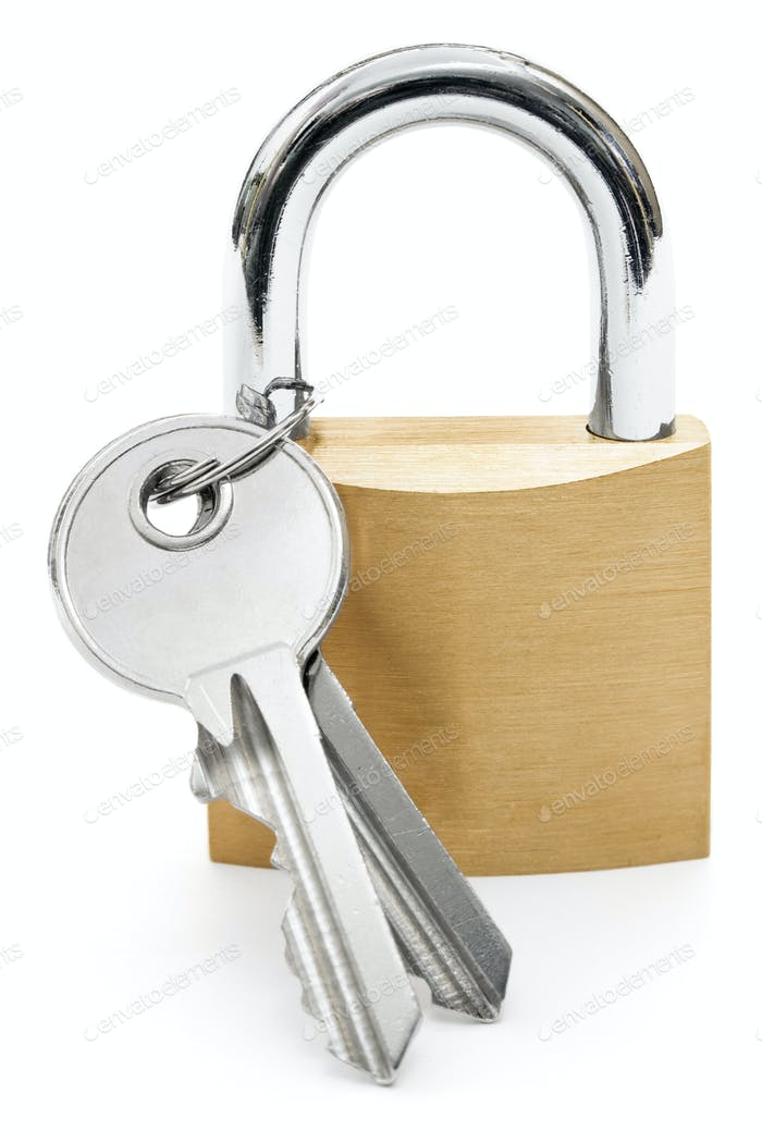 Padlock with Keys Isolated on a White Background