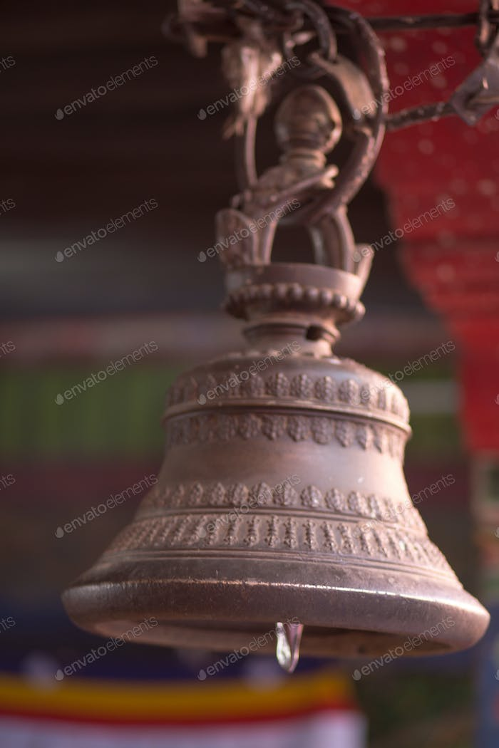 Bronze bell in buddhist temple in Tibet