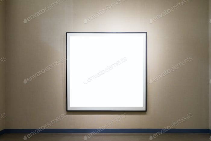 single blank frame on old wall