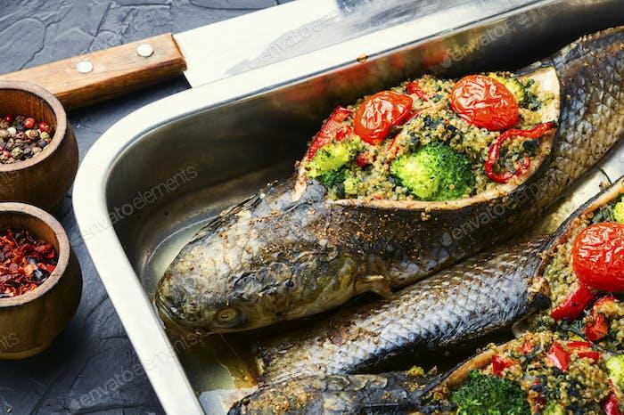 Tasty baked whole fish