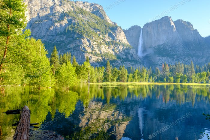 Merced River and Yosemite Falls landscape