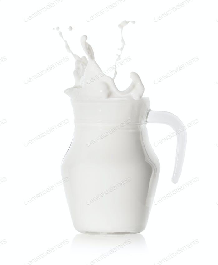 Splash of milk in a modern glass jug