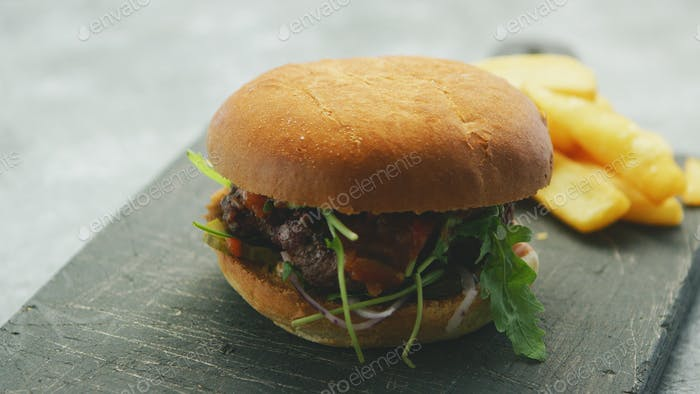 Juicy delicious burger on plate