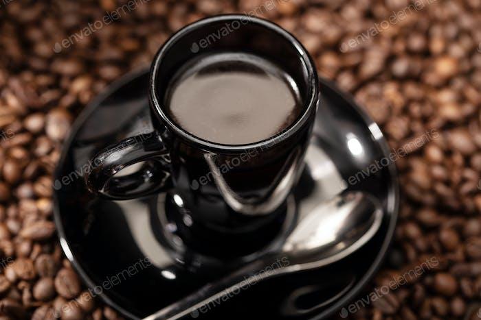 Espresso Coffee in black cup