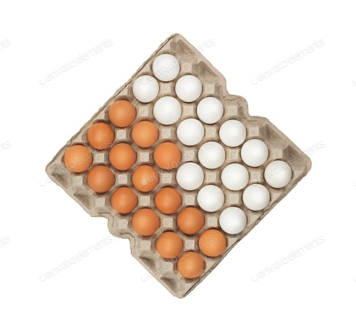 twenty four of white and brown eggs in the box