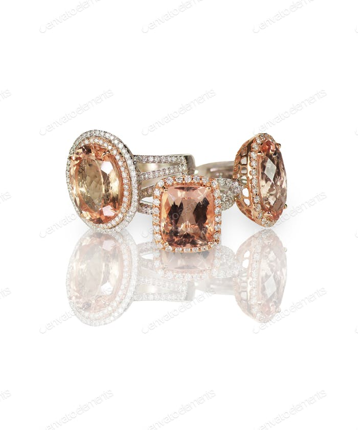Cluster stack of colored morganite  diamond wedding engagement rings