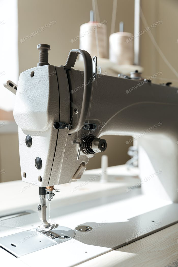 Close up of sewing machine in workshop