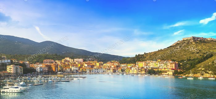 Porto Ercole village and harbor in a sea bay. Aerial view, Argentario, Tuscany, Italy
