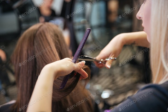 Beautiful hairdresser doing hairstyle to her client in beauty salon