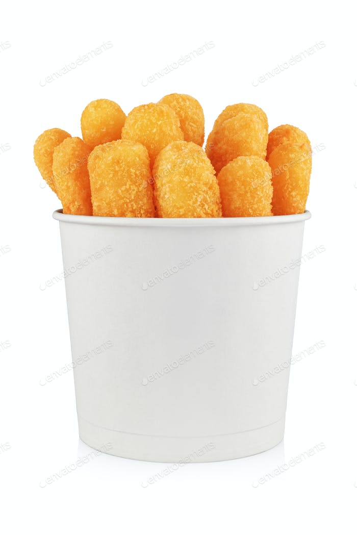 Deep fried fish, cheese or chicken sticks in paper bag isolated