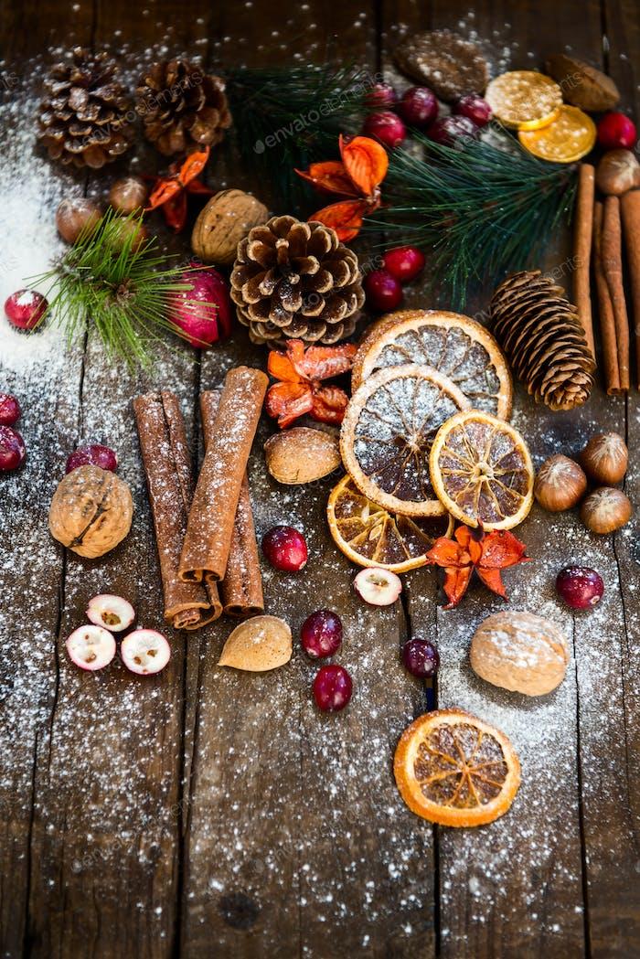 Xmas Symbols such as snow, nuts, berries