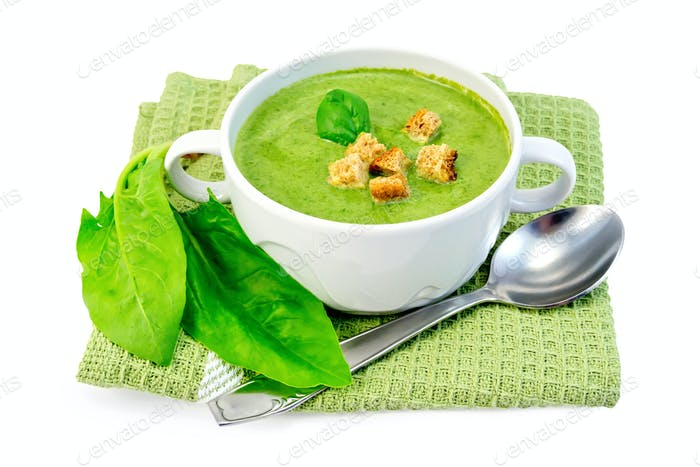 Soup puree with spinach and spoon