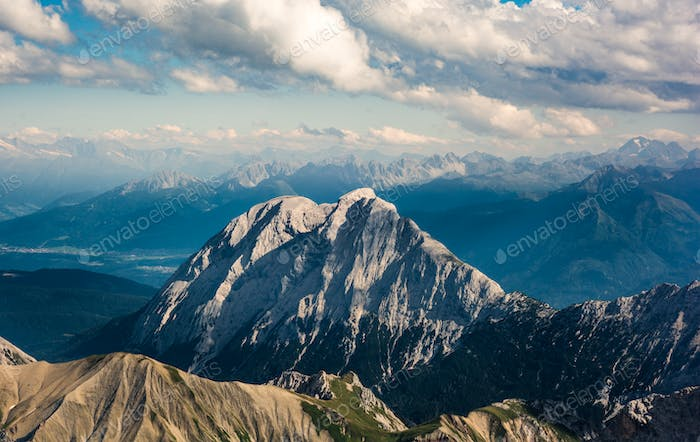 Zugspitze, Germany. Beautiful view of the high mountains and hills