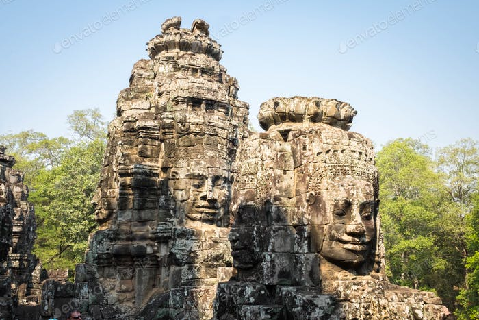 Buddhist smiling faces on towers at Bayon Temple, Cambodia