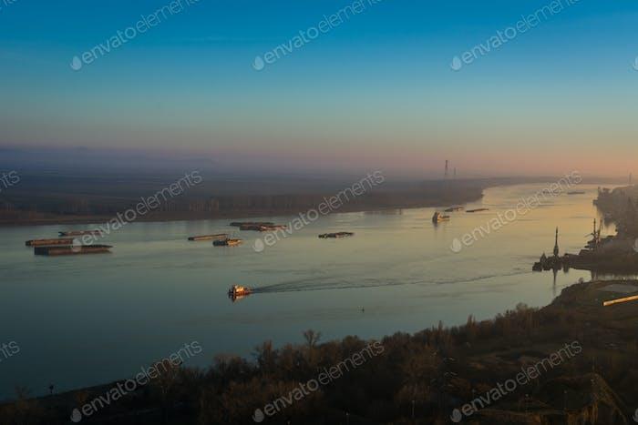 Ferry on Danube, Romania