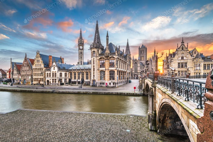 Ghent, Belgium at the Graslei
