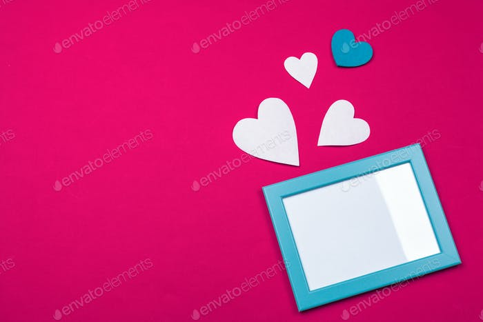 Flying red paper hearts. Valentine's Day. Symbol of love. Copy space