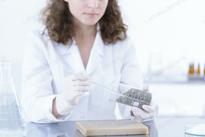 Chemist in uniform testing herbs