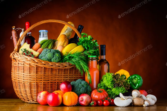 Shopping food, Vegetables and Fruits
