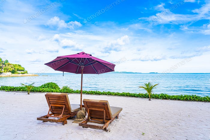 Beautiful landscape of beach sea ocean with empty chair deck and