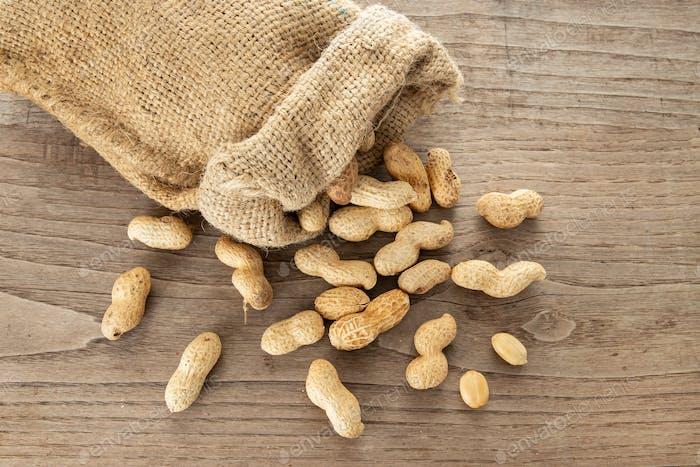 Burlap sack and Peanuts