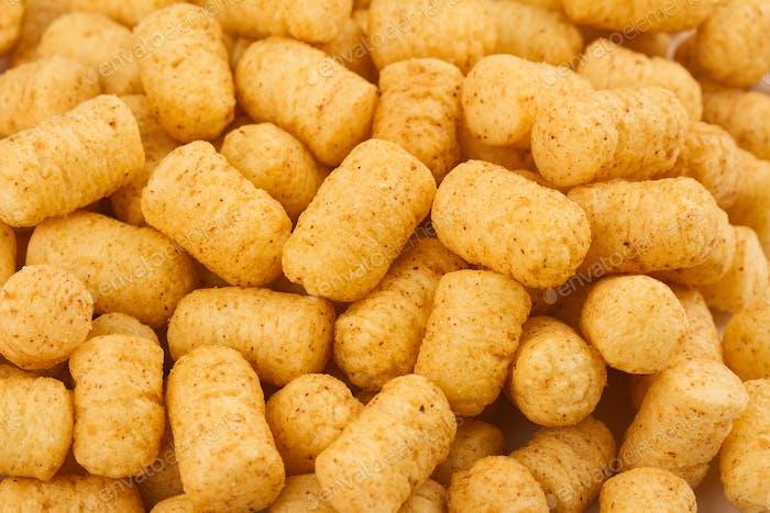 Draufsicht von Maispuff Snacks Haufen Textur