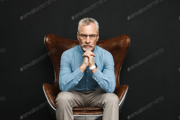 Portrait of businesslike gentleman 50s with grey hair and beard