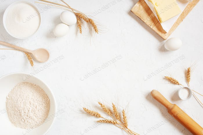 White Background with Ingredients for Baking