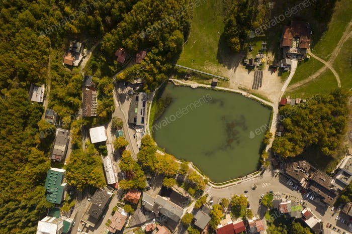 lake cerretano in the center of the village cerreto laghi photographed from the sky with drone