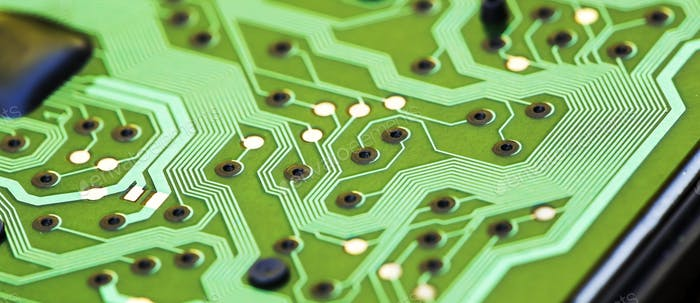 Web banner of a green circuit board