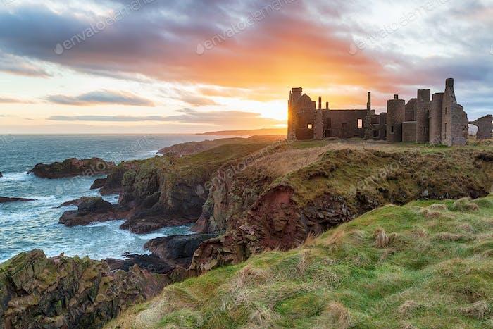 Slains Castle at Sunset