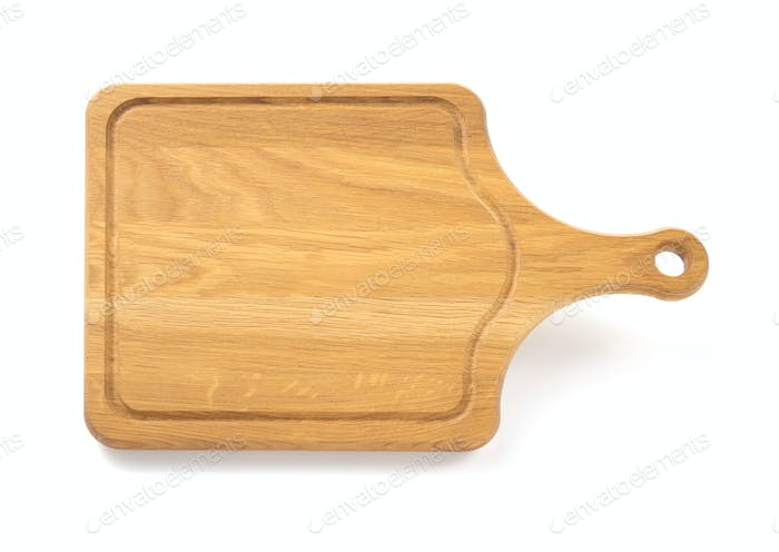 wooden cutting board on white