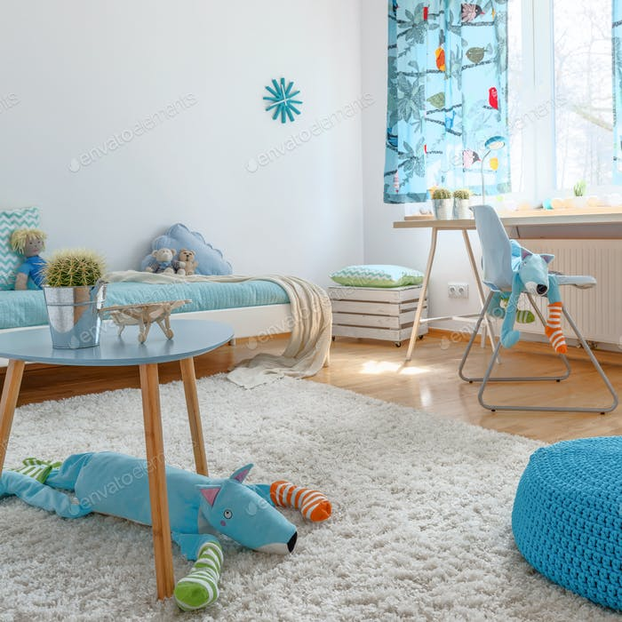 Spacious blue children's room