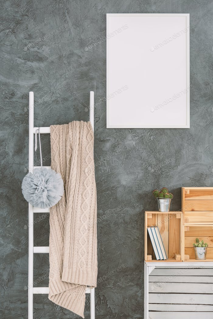 White ladder in a room