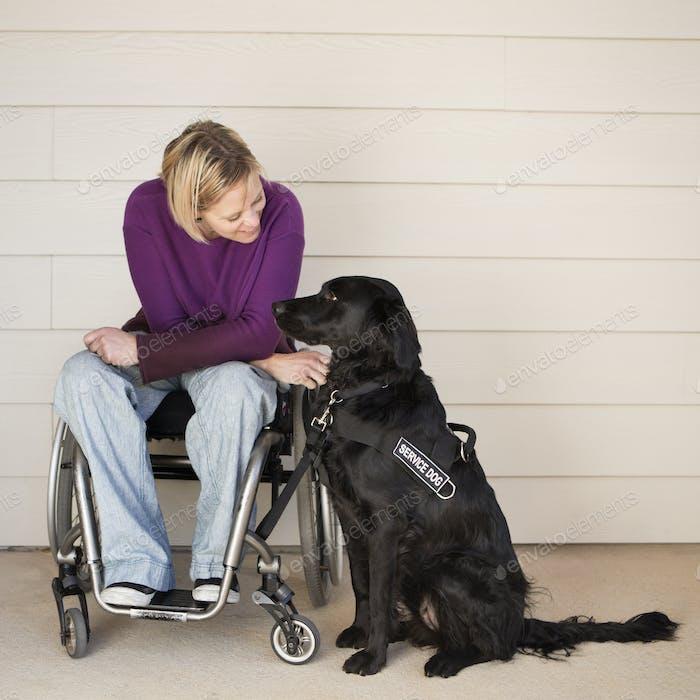 Eine Frau im Rollstuhl streichelte ihren schwarzen Labrador Service Hund.