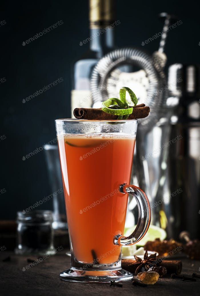 Hot buttered rum, autumn or winter warming alcoholic cocktail