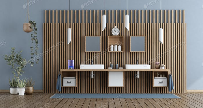 Modern bathroom with double washbasin