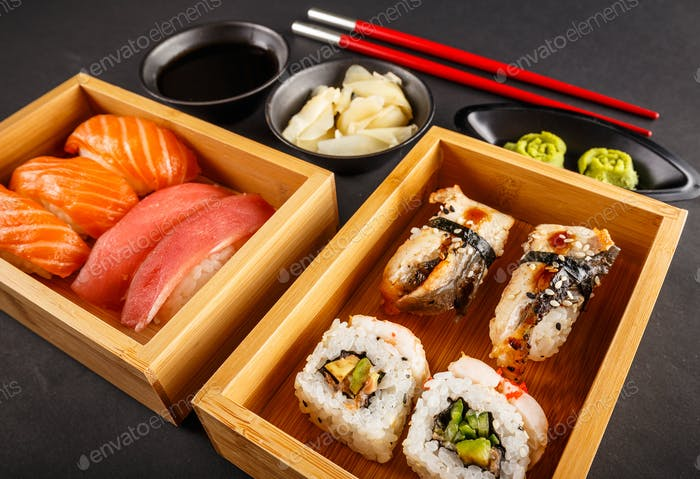 Fresh made sushi set